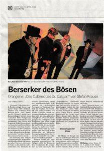 """Kritik zum Theaterstück """"Das Cabinet des Dr. Caligari"""""""