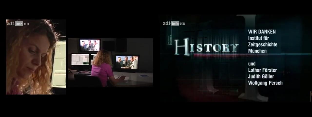 """Lippenleserin Judith Göller während des Einsatzes in der ZDF-Sendung """"History"""""""